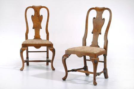 English Walnut Queen Anne Chairs